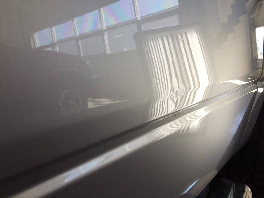 2013 Ford F-150 passenger door body-line dent, mobile Springfield dent Repair by Michael Bocek in Springfield IL, At Dealership Http://217hail.com http://217dent.com