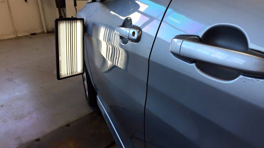 2013 Mazda 5 Wagon Body Line Dent Repair by Michael Bocek in Springfield IL, At Dealership Http://217hail.com http://217dent.com