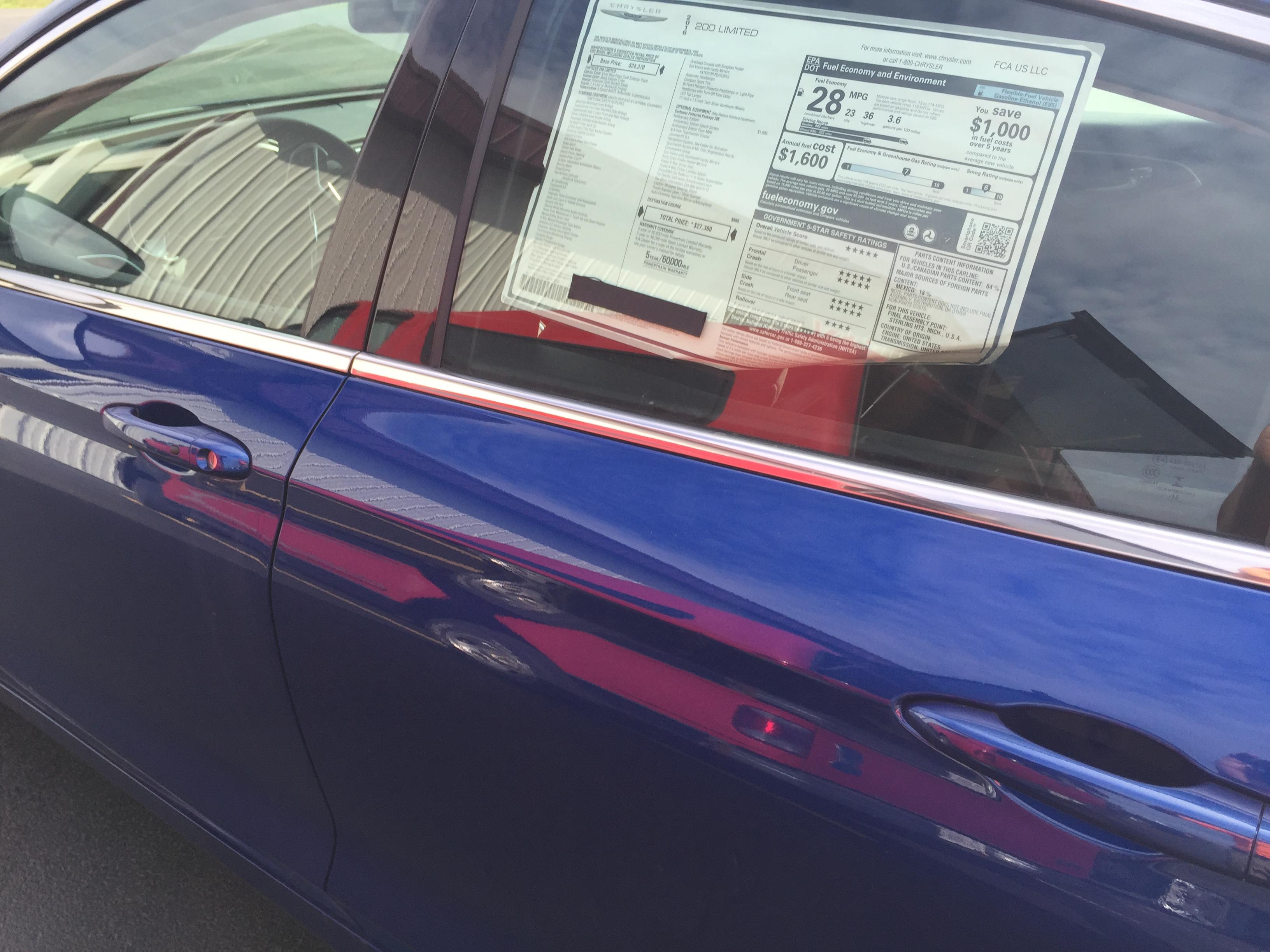 2016 Chrysler 200 Drivers rear door, Mobile Dent Repair Springfield Il