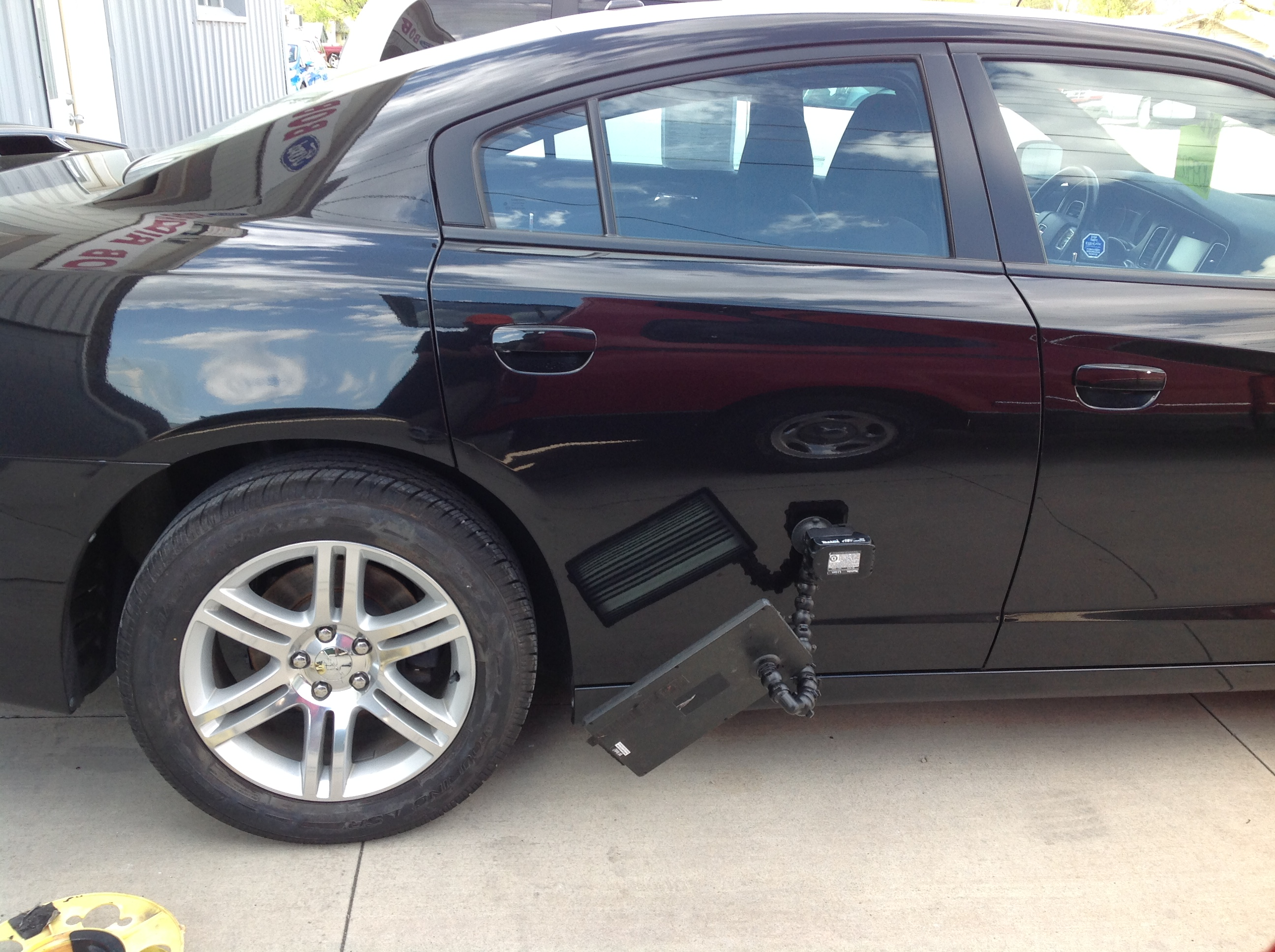 2011 Dodge Charger Passenger Rear Door Dent Removal, Springfield IL, Taylorville IL, Decatur IL, Mobile Dent Repair http://217dent.com