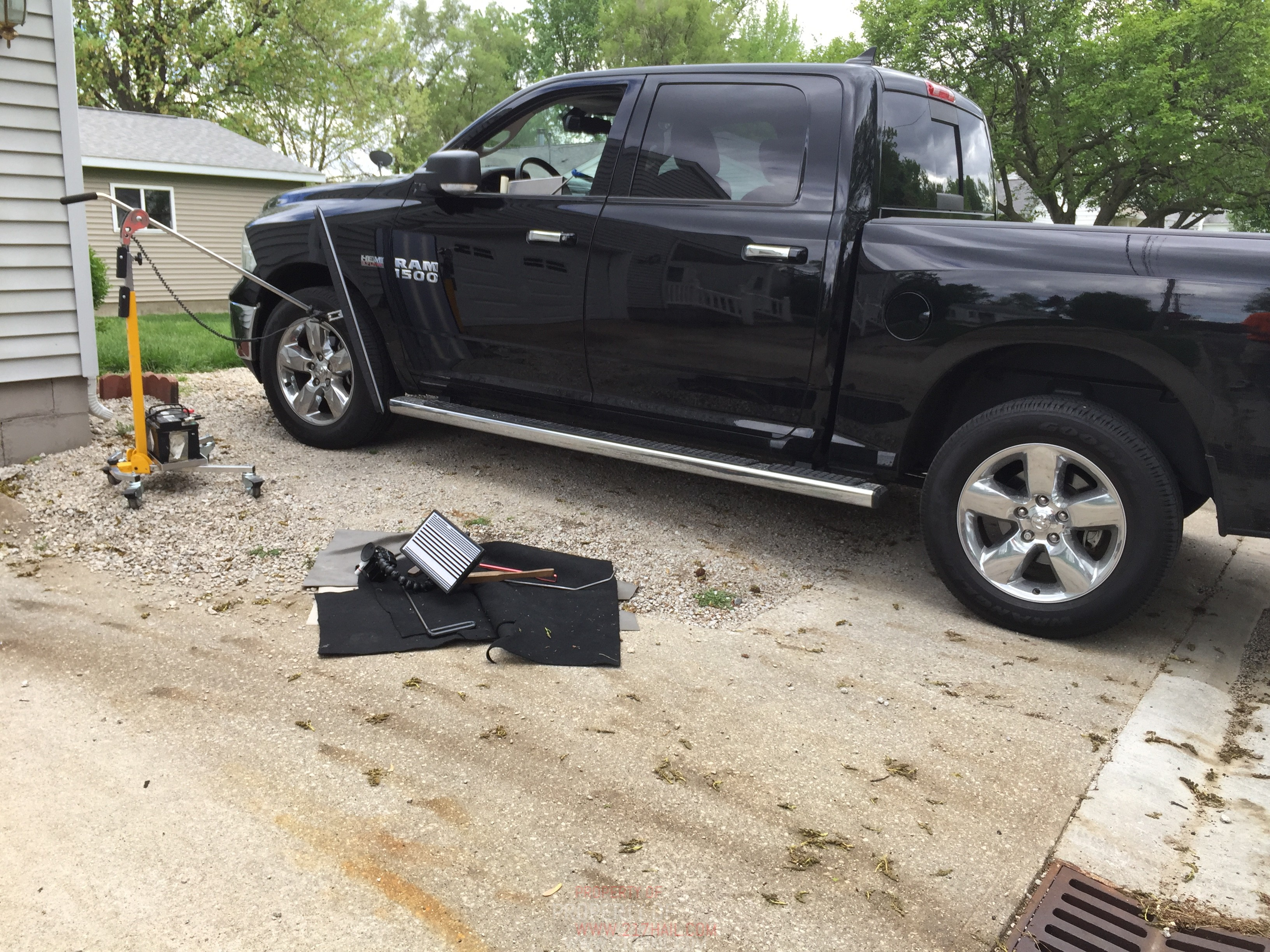 2013 Dodge Ram Drivers Door Dent Removal, Taylorville, IL. Springfield, IL. Mobile Dent repair, http://217dent.com