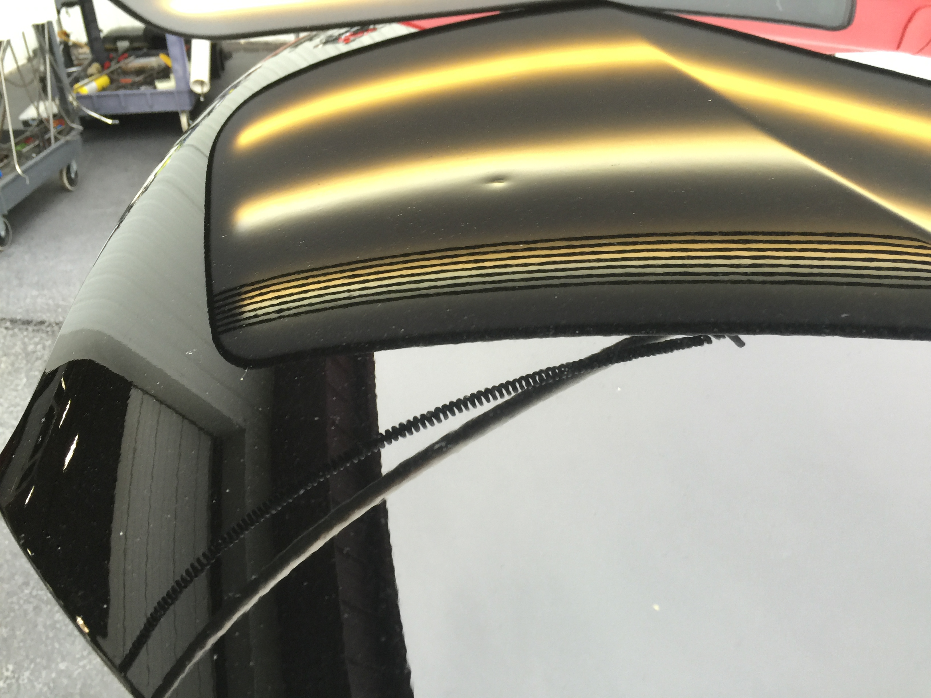 2012 Black Veloster hood dent. Work was done by Michael Bocek from 217dent.com. Go to http://217dent.com an estimate, or for more information about paintless dent removal.