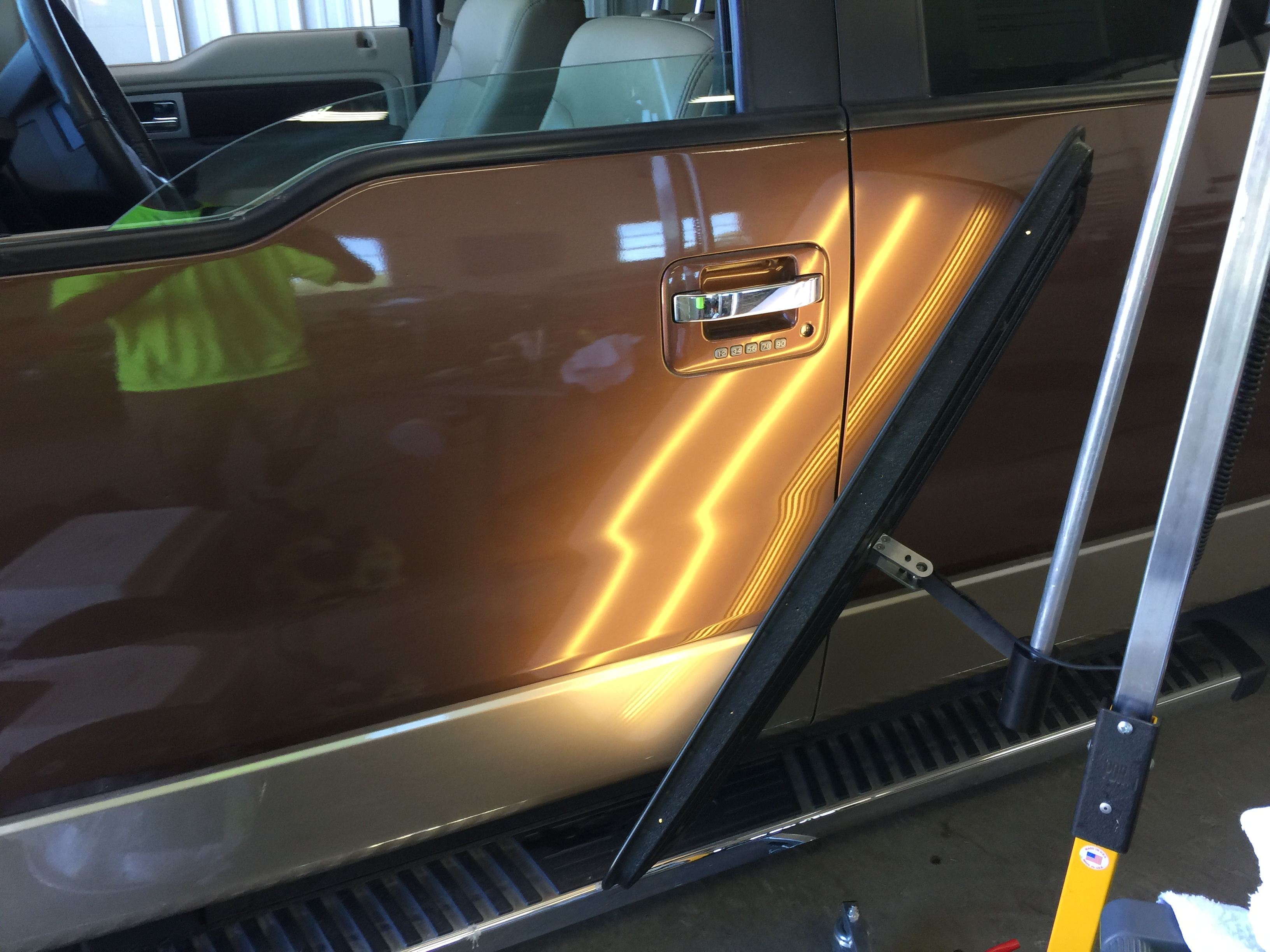 2012 Ford F-150 Dent Removal on drivers door, Springfield IL, paintless dent repair, http://217dent.com Springfield dent repair