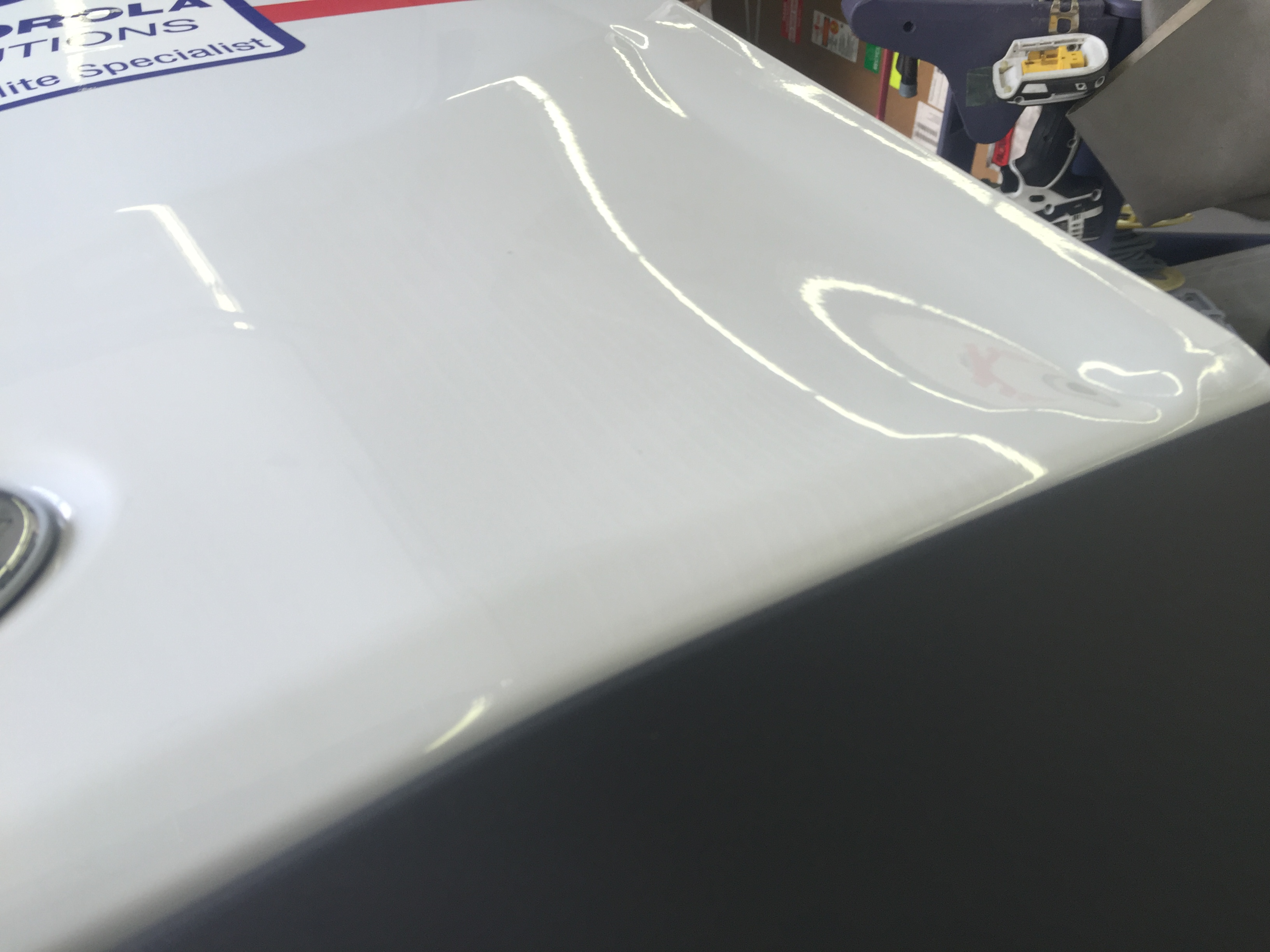 2016 Ford Transit Rear Door, Paintless dent removal, 217 Dent, http://217dent.com Springfield, IL Mobile Dent Repair. Dent Removal, Ding Removal, Springfield, IL