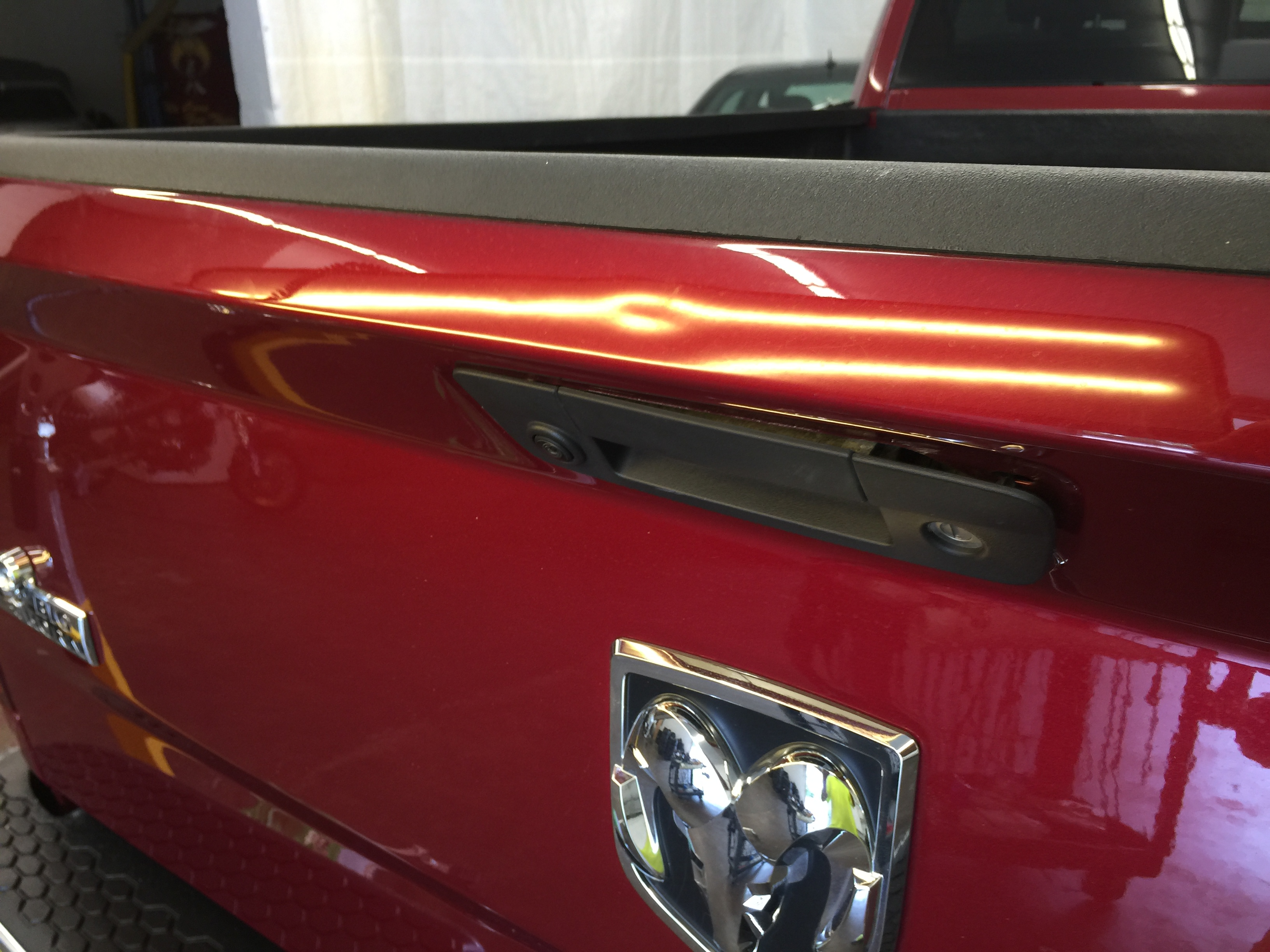 2015 Dodge Ram tailgate Dent repair in Springfield, IL, by Michael Bocek of http://217dent.com 217 dent Paintless Dent Repair