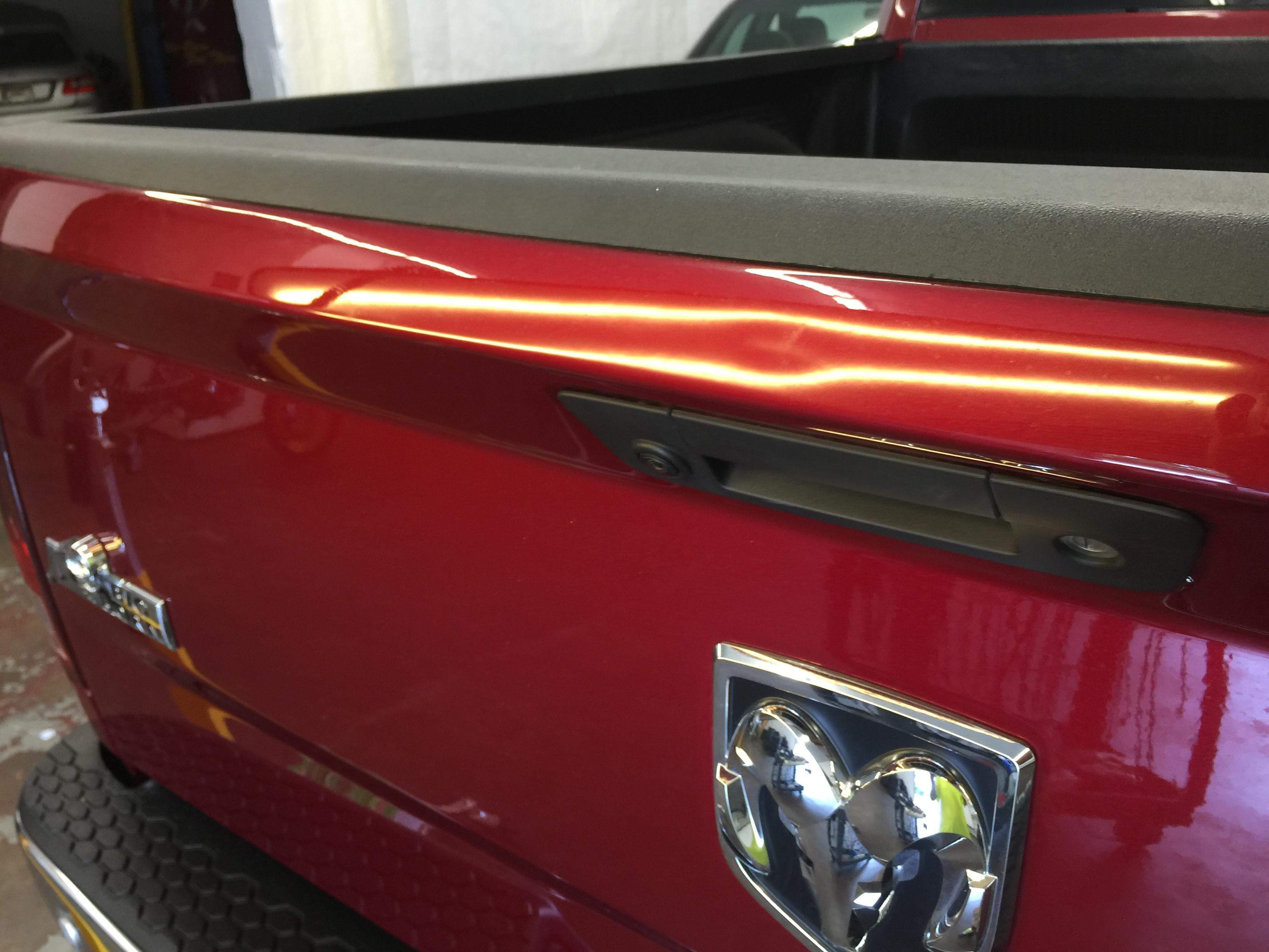 2015 Dodge Ram tailgate Dent repair in Springfield, IL, by Michael Bocek of http://217dent.com 217 dent Paintless Dent Repair