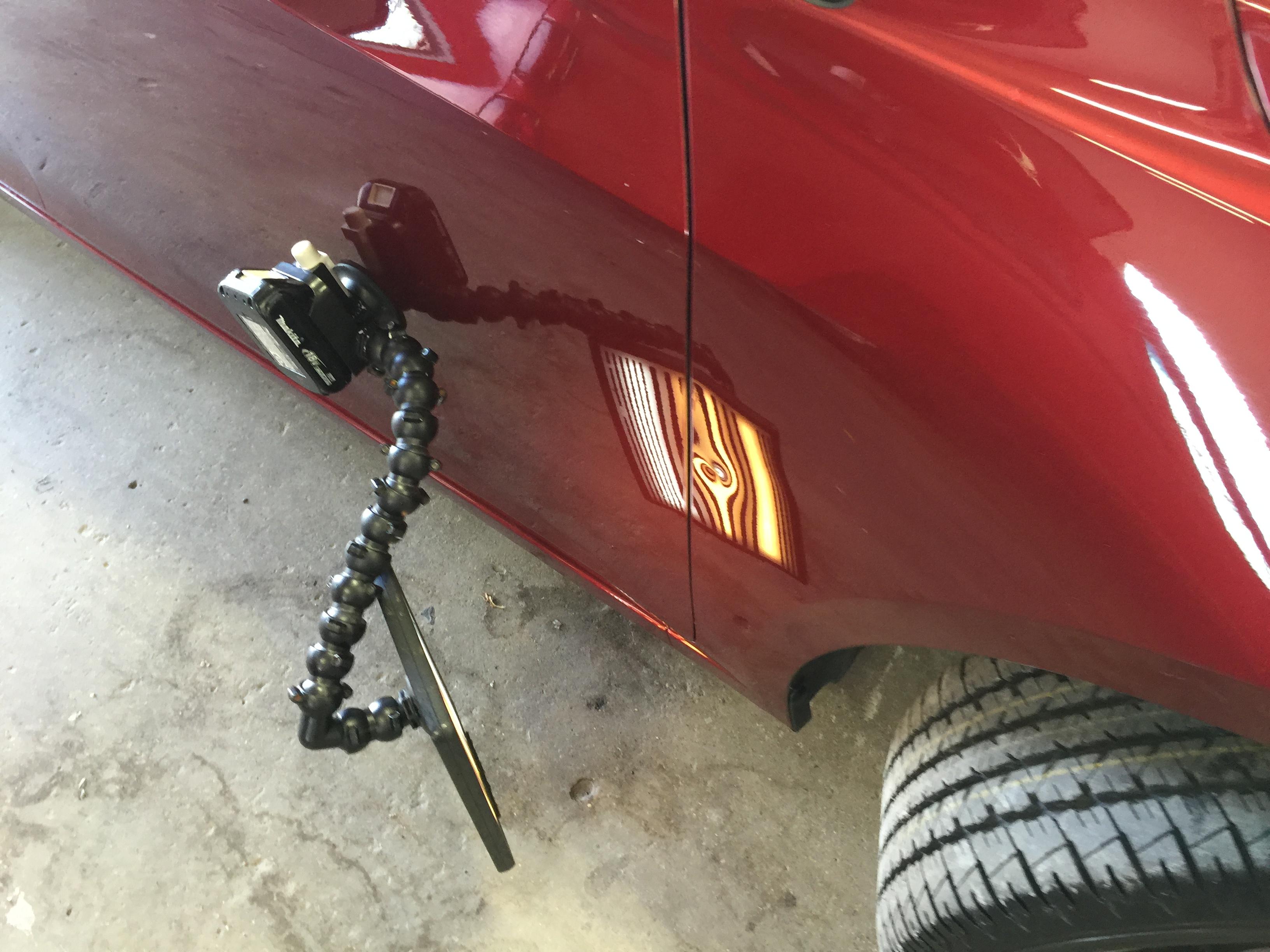 2015 Chevy Cruze, Paintless Dent Removal, Springfield's Mobile Dent Repair Specialist. Passenger Fender Sharp Dent. http://217dent.com