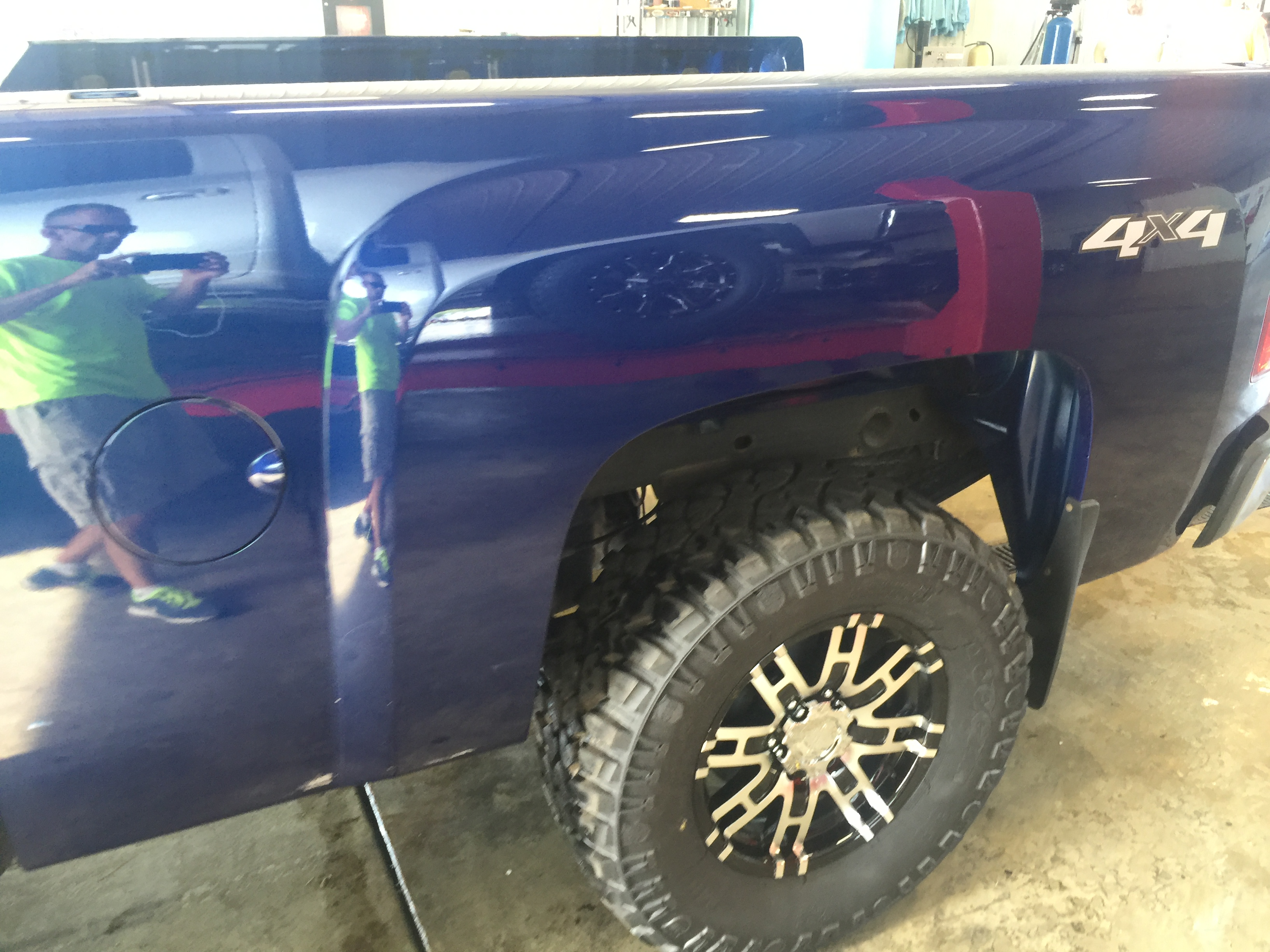 2013 Chevy Silverado, dent repair on the bedside removed with paintless dent removal, in or around Springfield, IL, http://217dent.com