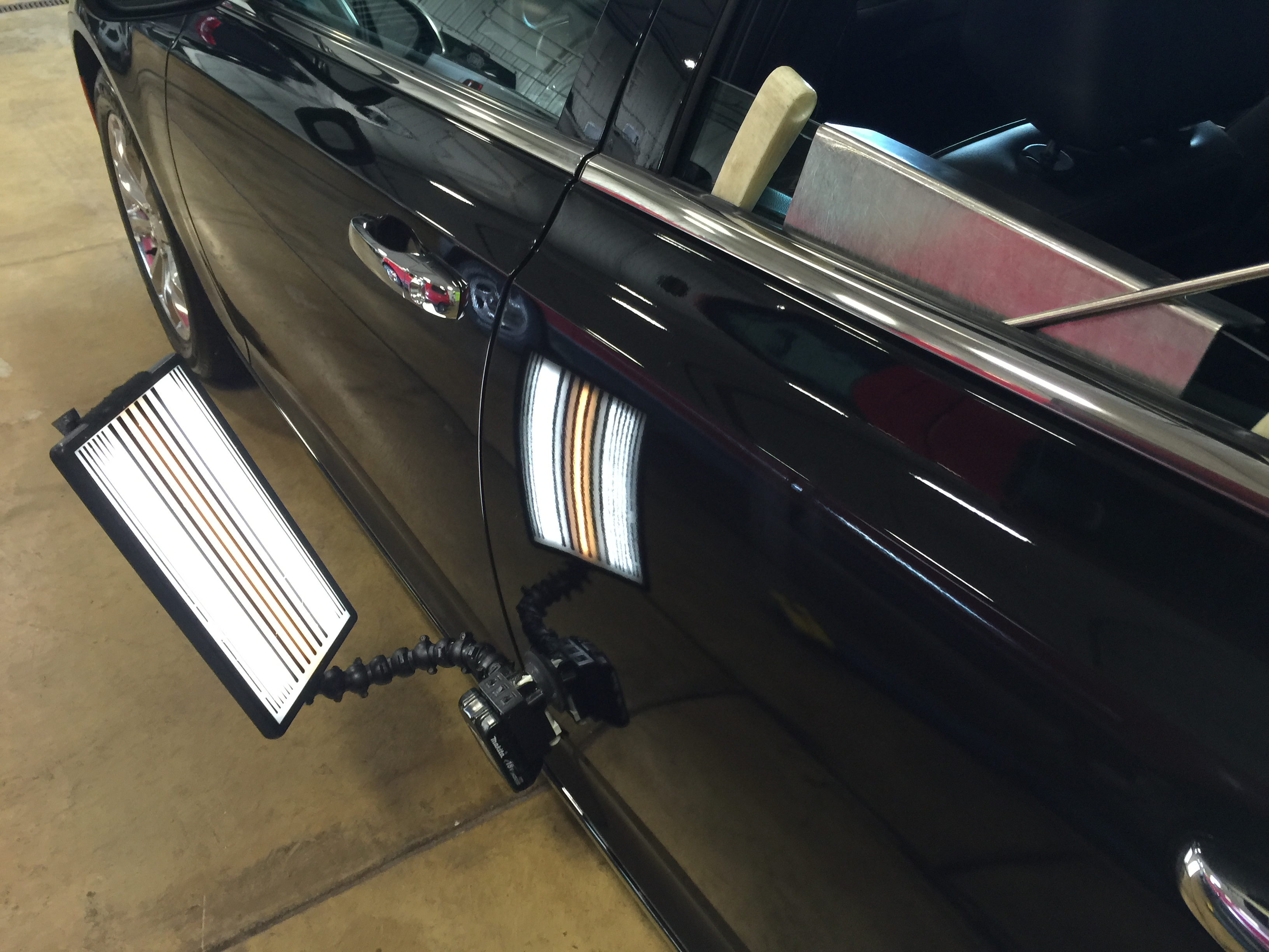 2016 Chrysler 300 C dent removal on drivers side rear door, Springfield IL, http://217dent.com