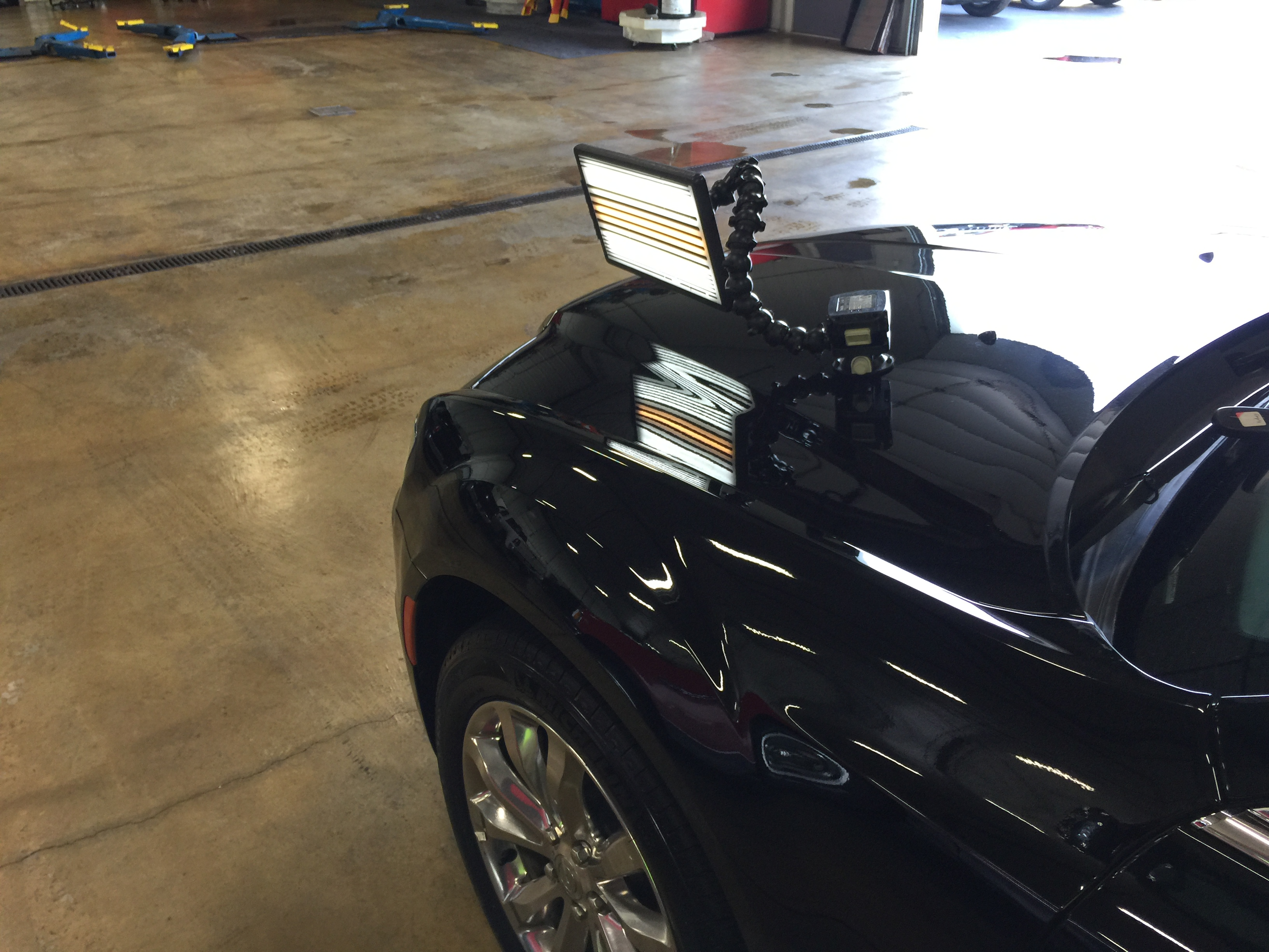 2016 Chrysler 300 C AWD Dent Repair on Aluminum Hood, hail damage, Springfield, IL. PDR http://217dent.com