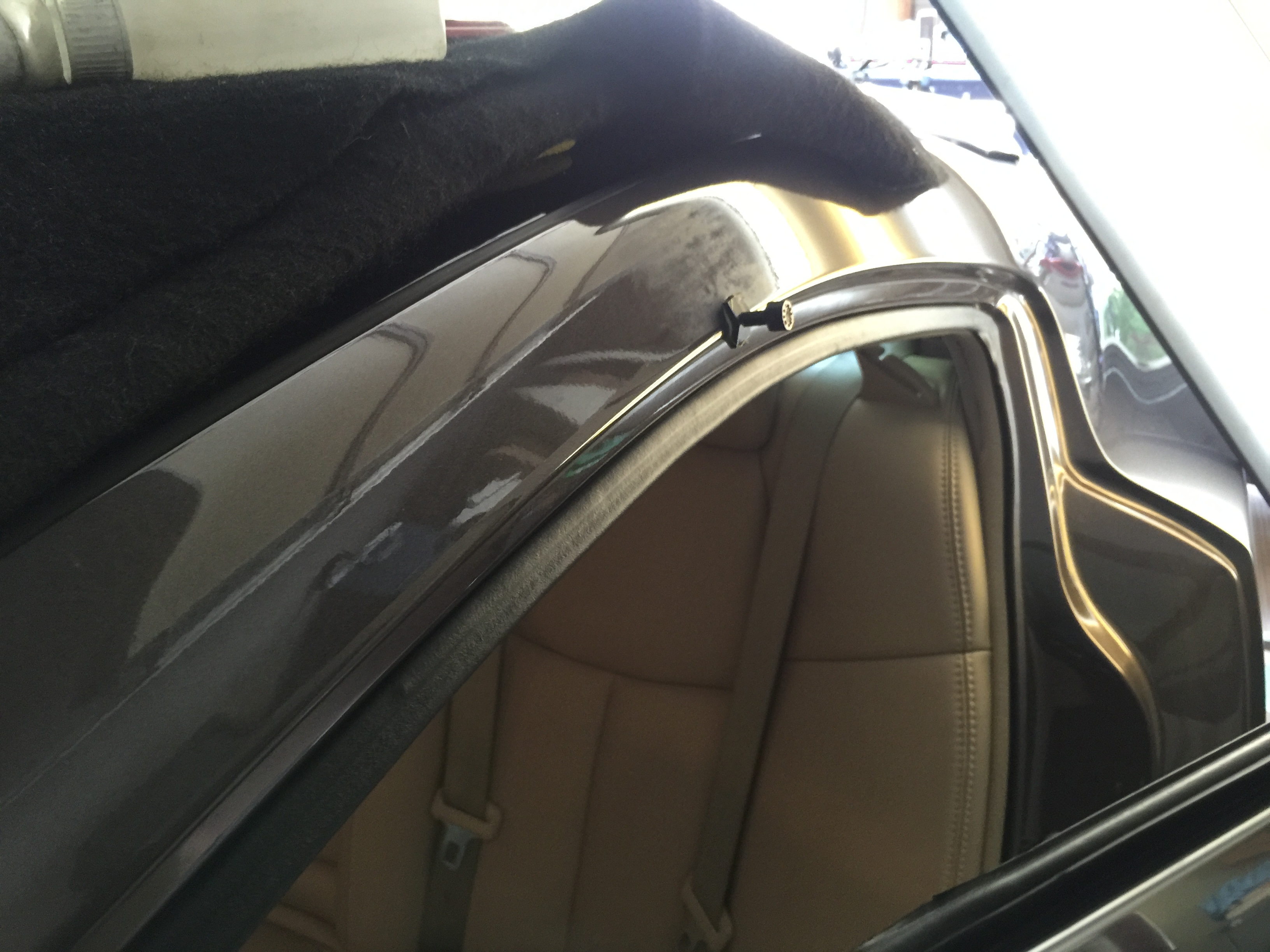2013 Nissan Maxima Roof Rail Cressed Dent, Removed with the paintless dent removal process, and was removed by Michael Bocek out of Springfield, IL http://217dent.com