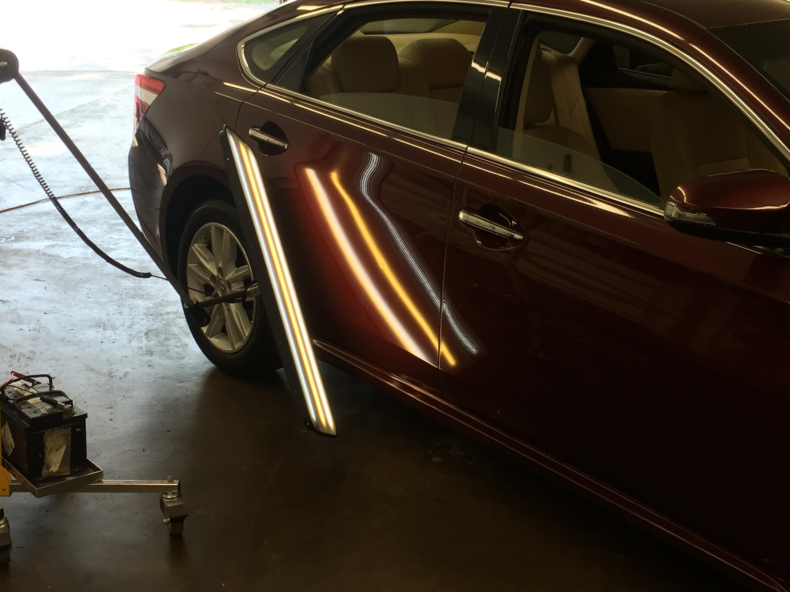 2013 Toyota Avalon Paintless Dent Removal, passenger rear door dent removal, http://217dent.com