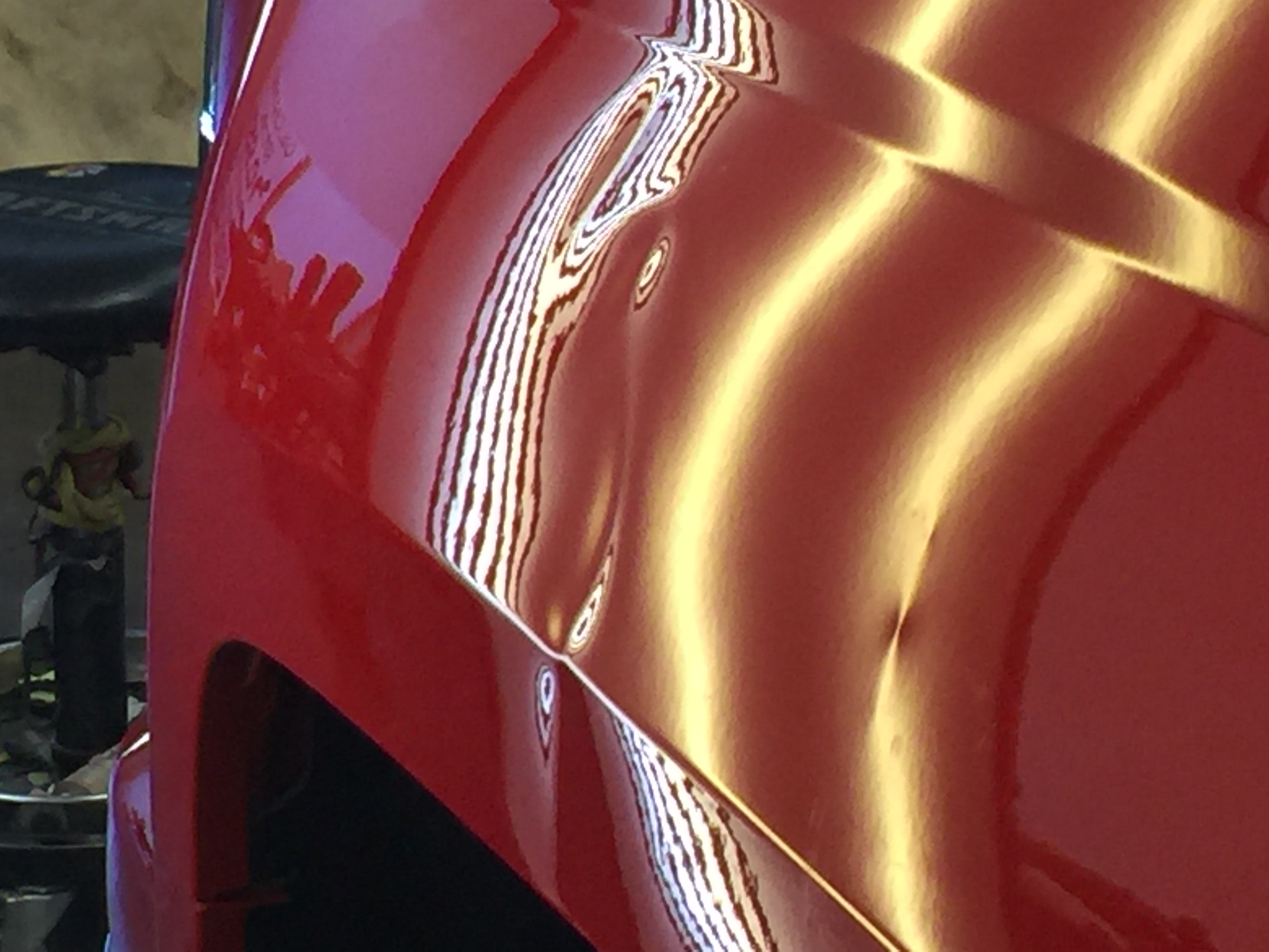 2014 Chevy Silverado Dent Removal, Sherman, IL. (near Springfield, IL). Dent in drivers' side fender, http://217dent.com