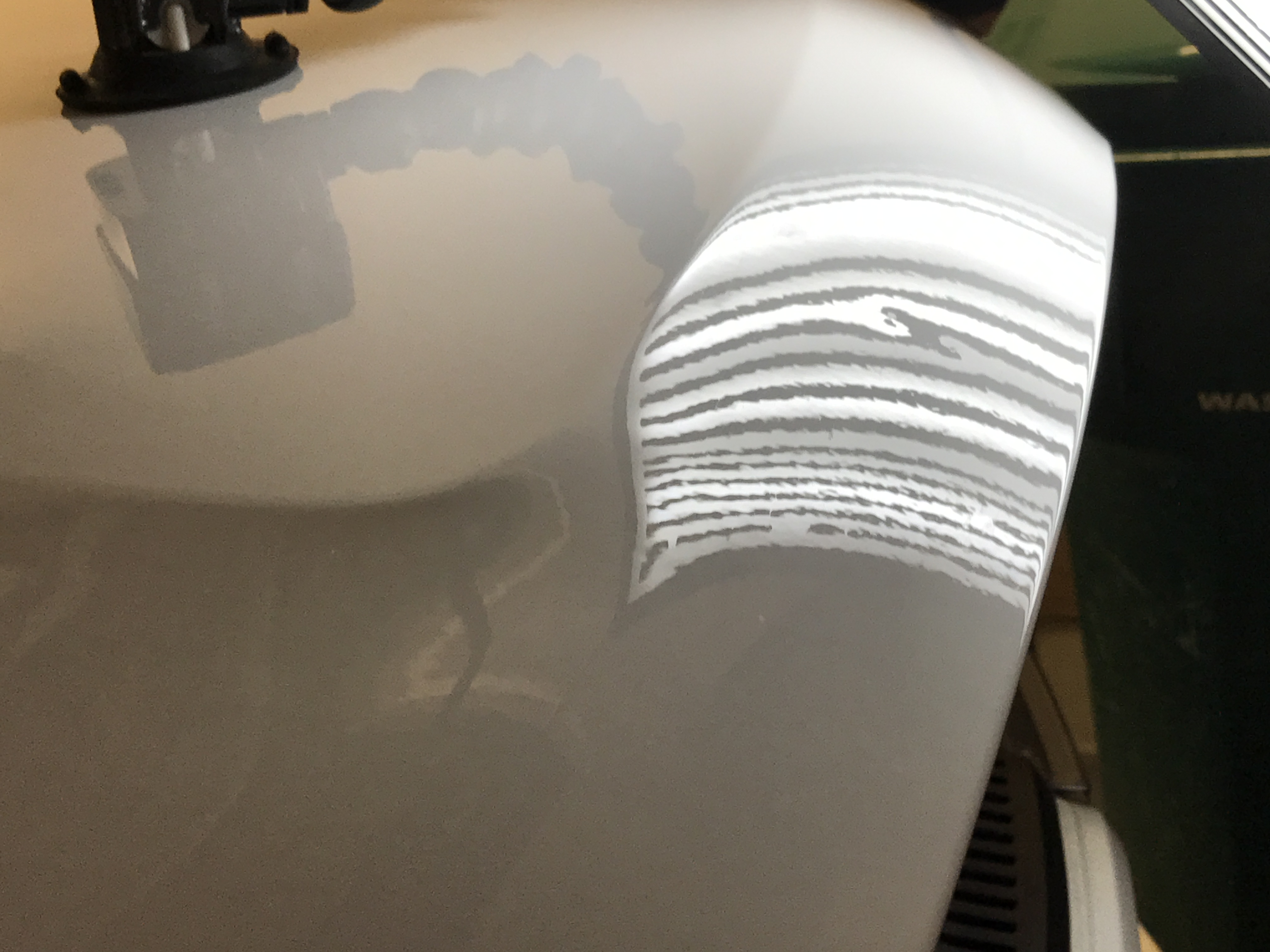 2015 Dodge Durango RT Paintless Dent Removal, Springfield IL http://217dent.com Before Image of Hood Dents