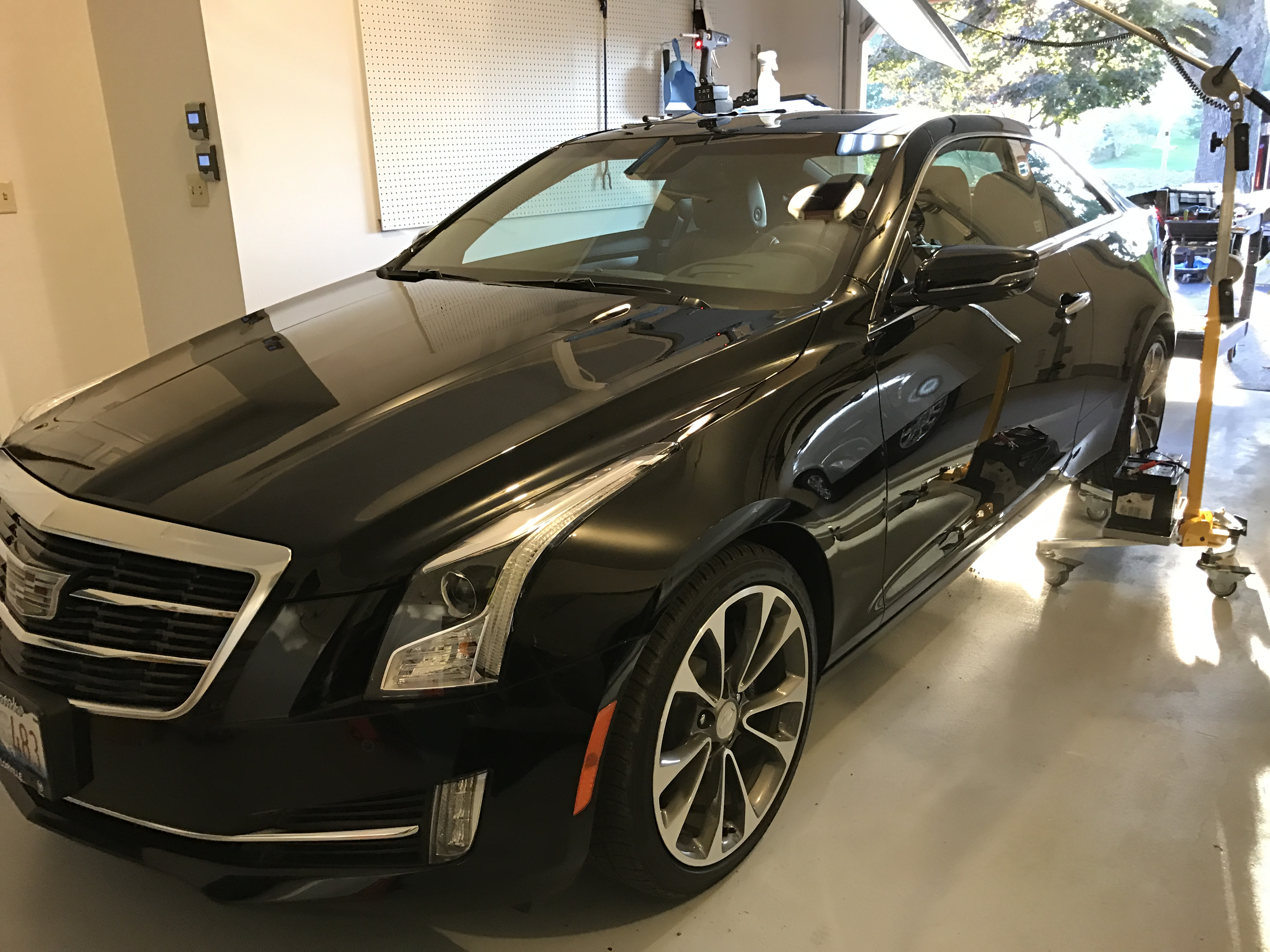 2016 Cadillac ATS Set up for dent in roof from a acorn. Springfield, IL. Taylorville, IL. http://217Dent.com Paintless dent remvoal