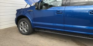 http://217dent.com 2018 Ford F-150 Aluminum Truck with hail damage on hood roof and sides, Collinsville Hail Repair